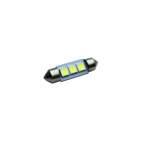 Bec auto 3 LED-uri,SMD 5050, Culoare Alb Rece, 38mm, Alimentare 12V, plafoniera, portbagaj