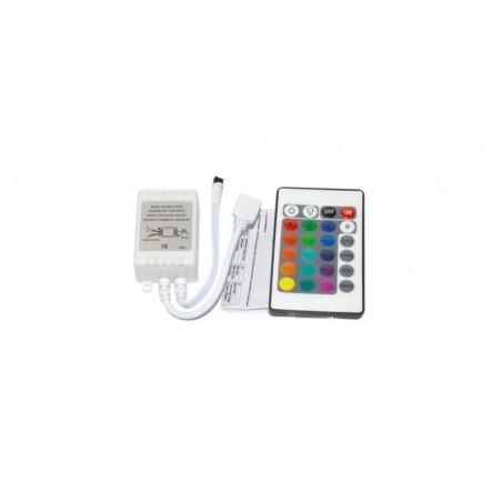 Controller banda led RGB si telecomanda IR 24 taste, curent maxim 3x2A, alimentare 12V
