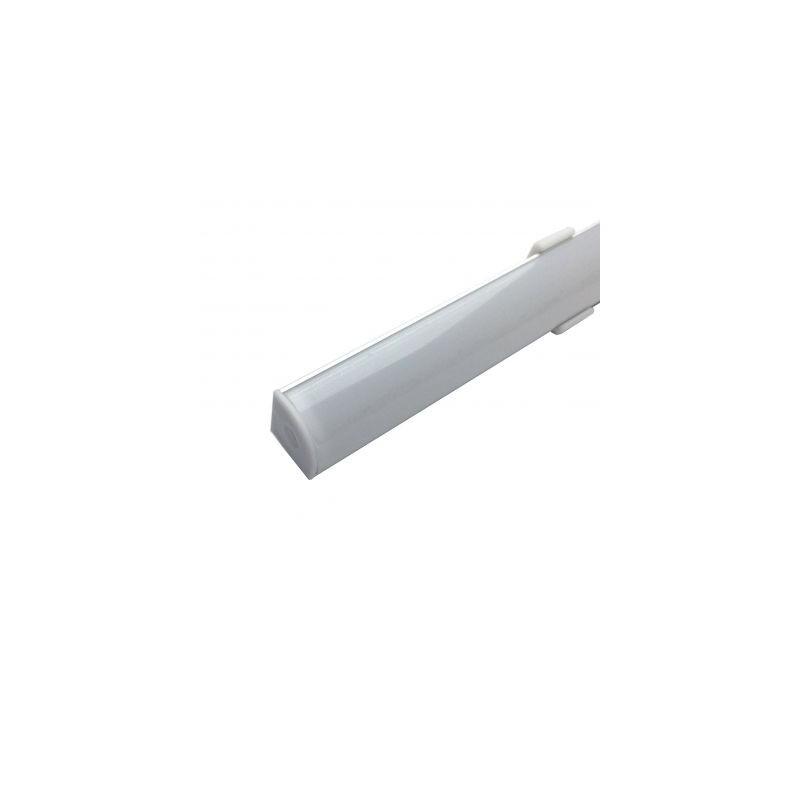 Profil aluminiu / Canal Banda Led Hard Strip pe colt (90°), capac alb mat, Lungime 2m