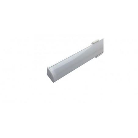 Profil aluminiu / Canal Banda Led Hard Strip pe colt (90°), capac alb mat, Lungime 1m