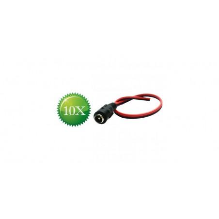 Pachet 10 conectori alimentare tata cu cablu, 25 cm