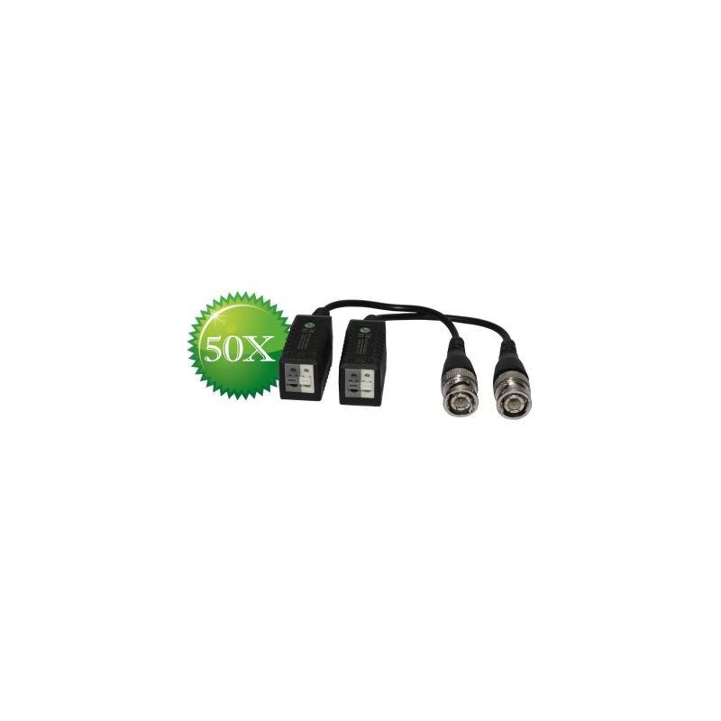 Pachet 50 seturi Video Balun HD-CVI/TVI/AHD alb+gri - protectie