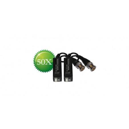 Pachet 50 seturi Videobalun AHD/CVI/TVI alb+gri HDT (101H BALUN) - protectie interferente si descarcari electrice