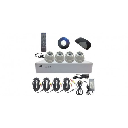 Kit DVR 8 canale 1080H + 4 camere dome 2.0MP, include sursa de alimentare, cabluri, spliter, mouse wireless si telecomanda
