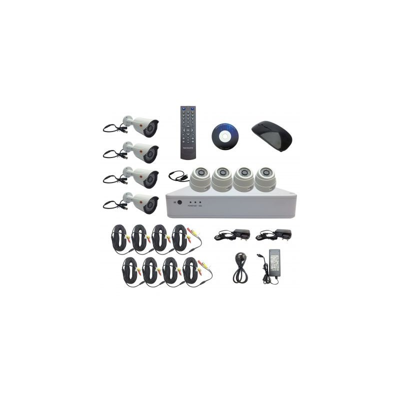 Kit DVR 8 canale + 4 camere dome, 4 camere bullet 1080H complet GS-D6108CT-C-E11
