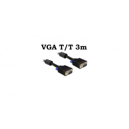 Cablu VGA Tata Tata 3m 15 pini, ecranat, cu bobina antiparaziti