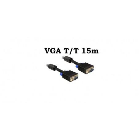 Cablu VGA Tata Tata 15m 15 pini, ecranat, cu bobina antiparaziti
