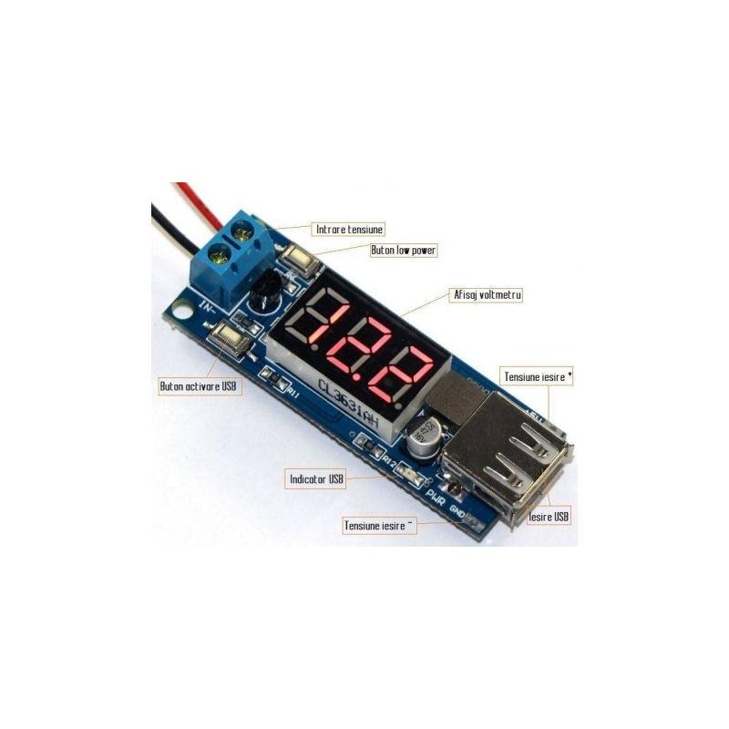 Regulator de tensiune step-down cu USB 5V 2A cu voltmetru