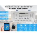 Releu smart 4 canale cu receptor RF 433MHz WiFi Sonoff 4CH Pro R2 IM171108006 (incl timbru verde 1.05 lei)