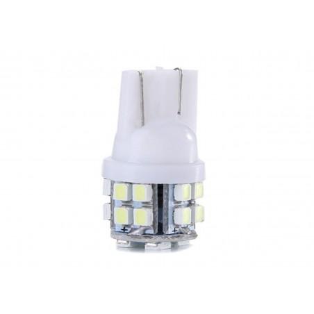 Bec auto pozitie 20 LED-uri, forma mar, SMD 3014, Culoare Alb Rece, Alimentare 12V, soclu T10