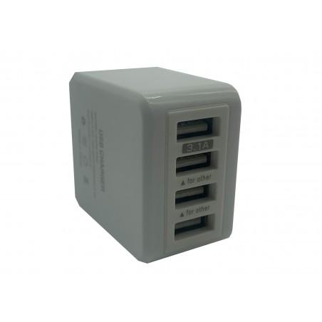 Incarcator la priza pentru telefon 5V 3100mA 4 porturi USB plastic alb KeKe-F6C