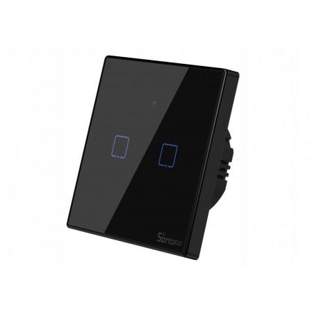 Intrerupator Wifi 2ch touch Sonoff IoT T3EU2C TX IM190314019 NEGRU