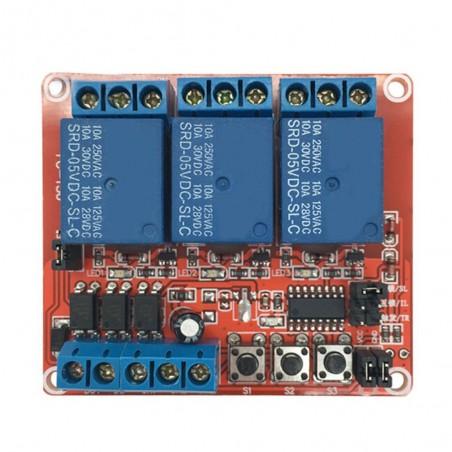 Modul cu releu 3 canale 2 in 1 cu retinere interlock pe fiecare canal 12V OKY3036 10107121