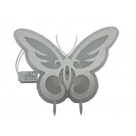 Aplică ornamentală, model fluture alb, sticlă, cu LED alb rece/cald