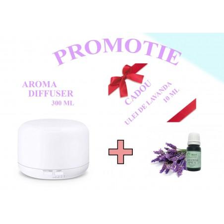 ML-A3 Difuzor aromaterapie alb cu telecomanda ( CADOU ULEI LAVANDA 10 ML )