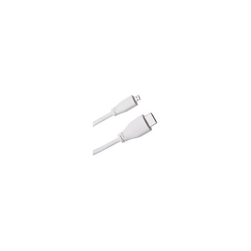 Cablu HDMI-microHDMI 1m alb pentru Raspberry