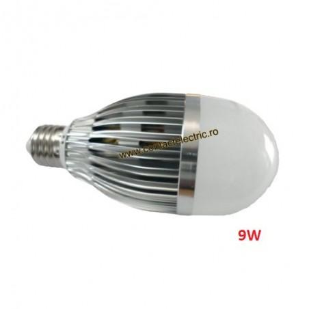 Bec E27 LED 9W cu radiator