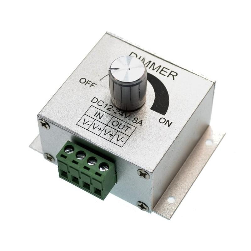 Dimmer LED cu potentiometru, 8A, 96W, alimentare 12-24V DC