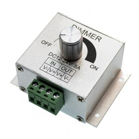 Variator LED reglabil cu potentiometru, 8A, 96W, alimentare 12-24V DC