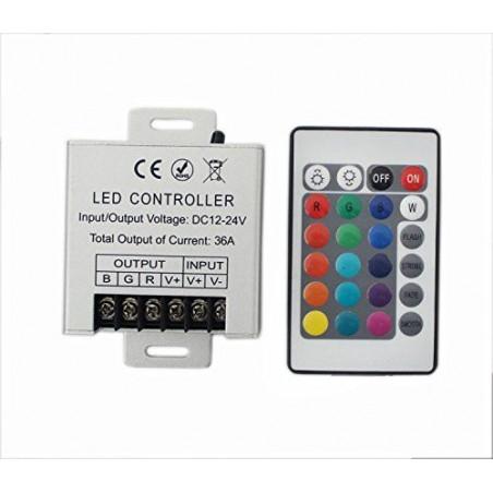 Controller led RGB 12-24V 12A/CH cu telecomanda 24 taste