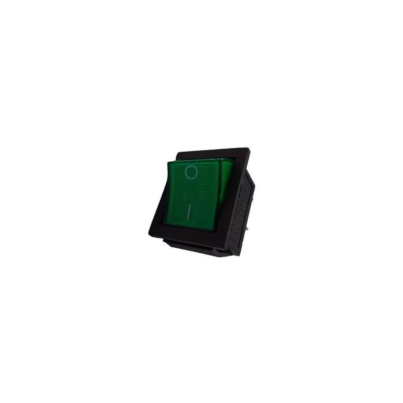 Intrerupator Rocker dreptunghiular SPDT ON-OFF Verde 250V/15A IP20 KCD2 2x2 pini 10107344