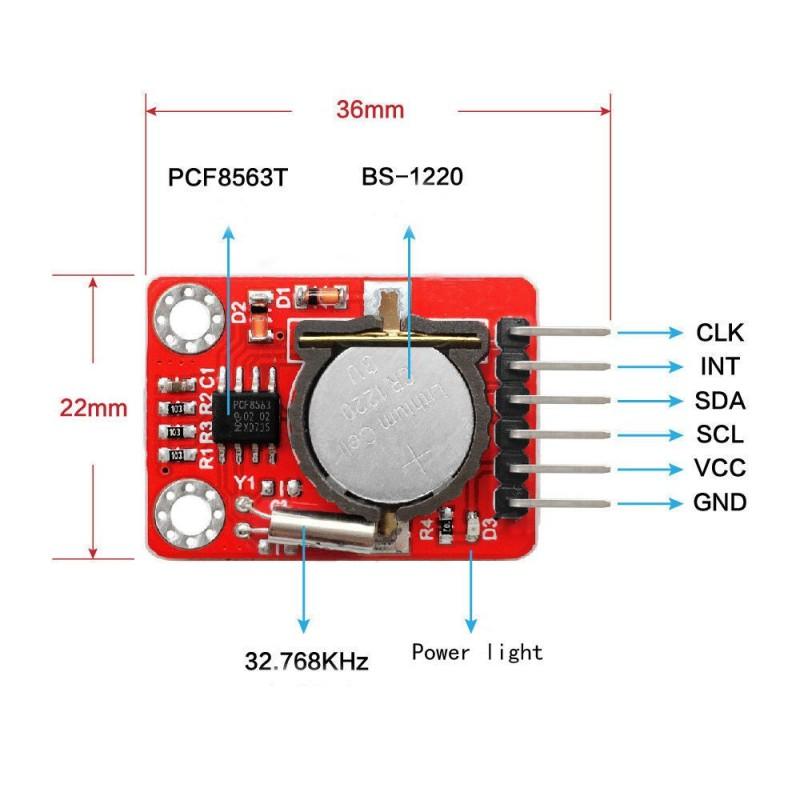 OKY3395 Modul ceas in timp real cu calendar I2C PCF8563 CR1220