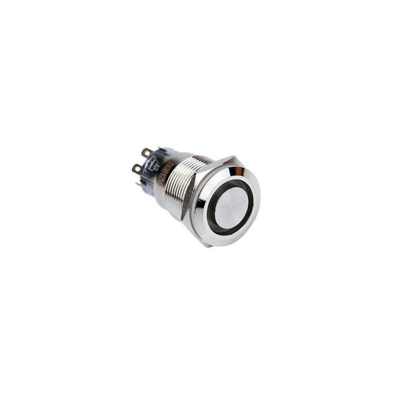 Buton fara retinere cu montare pe panou OFF-(ON) led rosu 12V,12mm