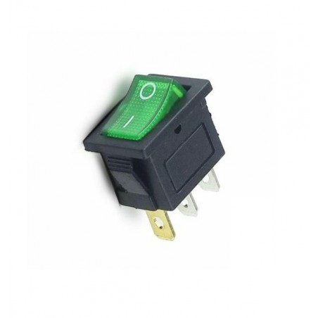 Intrerupator Rocker dreptunghiular miniatura SPST ON-OFF Verde cu led  250V/6A IP20 KCD1-2 3pini
