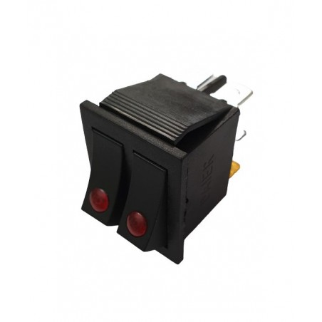 Intrerupator dublu Rocker dreptunghiular SPST ON-OFF Rosu punct cu led 250V/15A IP20 KCD2 2x3 pini