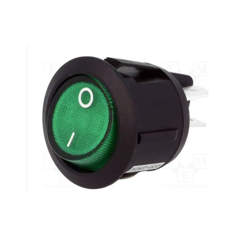 Intrerupator miniatura Rocker rotund 14,5mm SPST ON-OFF Verde cu led 250V/3A IP20 KCD5 10107338