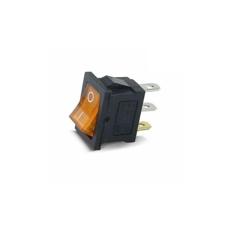 Intrerupator Rocker dreptunghiular miniatura SPST ON-OFF Galben cu led 250V/6A IP20 KCD1-2 3pini