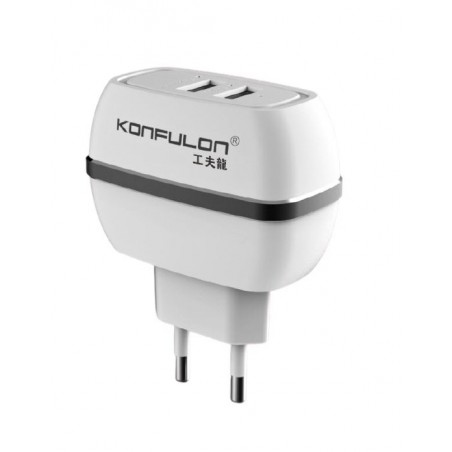 Incarcator la priza Konfulon C23 cu doua iesiri USB pentru iOS Android 2.4A