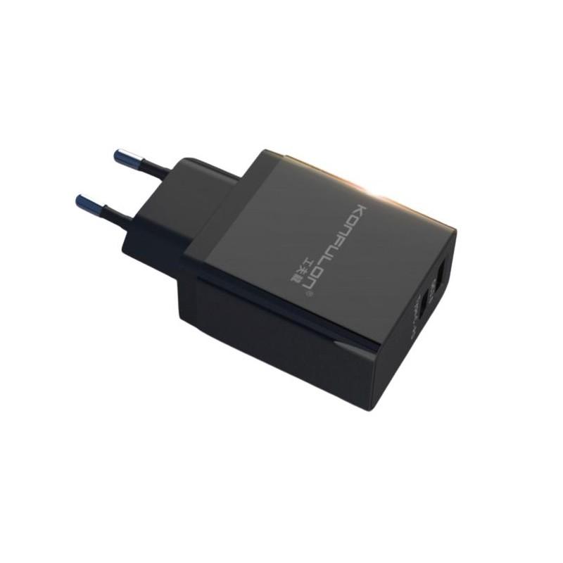 Incarcator la priza cu USB QC 3.0 si Tip C-PD Konfulon C59 negru