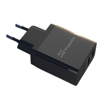 Incarcator la priza Konfulon C59 cu USB QC 3.0 si Tip C-PD negru