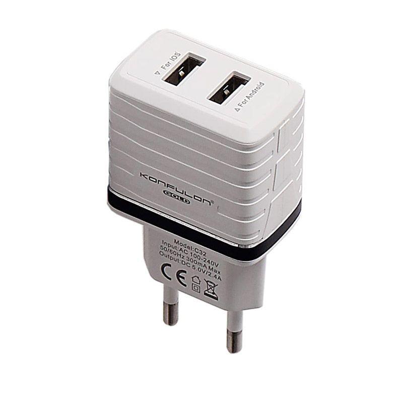 Incarcator la priza Konfulon C32 cu 2 iesiri USB pentru telefon