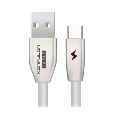 Cablu incarcare telefon USB Tip C 3.0A 1m Konfulon S58 alb