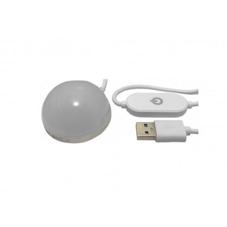 Lampa USB, LED alb cald, diametru 5 cm, 3 niveluri de iluminare, touch, magnet